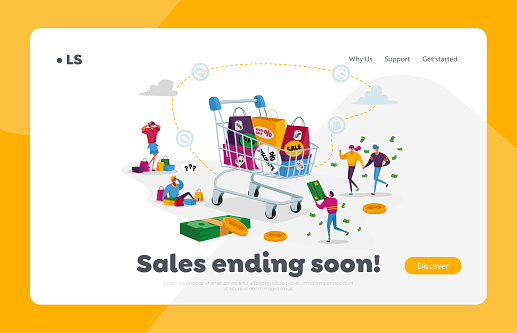 Buyers Characters at Seasonal Sale or Discount Landing Page Template. Cheerful Tiny Shopaholic People around Huge Trolley with Purchases and Gifts. Happy Shopping Fun. Cartoon Vector Illustration