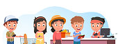 Buyers children buying food in supermarket. Happy shoppers people standing in line & paying for purchases at checkout counter. Grocery shop cashier scanning groceries. Flat style vector isolated illustration