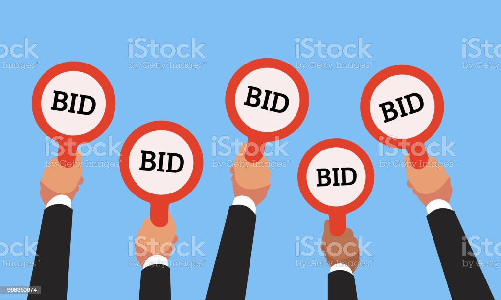 Buyers hands raising auction bid paddles with numbers of competitive price. Auction business bidders raise hand vector concept vector art illustration