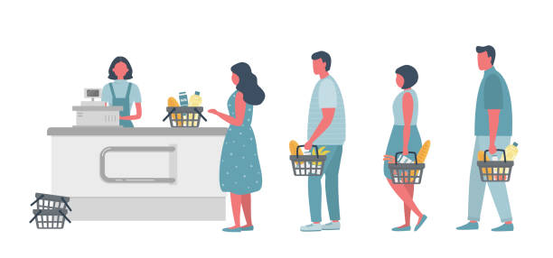 Buyers in the supermarket. There is a supermarket cashier behind the cash register. Shoppers hold food baskets in their hands vector art illustration