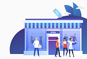 Buyers standing and holding bags near shop front. People choosing and buying clothes in shop. Fashion outlet, boutique concept. Vector illustration can be used for topics like business, shopping, sale