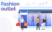 Buyers standing and holding bags near shop window. Fashion outlet, boutique concept. Poster or landing template. Vector illustration for topics like business, shopping, sale