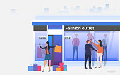 Buyers walking and holding bags near shop window. People choosing and buying clothes in shop. Fashion outlet, boutique concept. Vector illustration can be used for topics like business, shopping, sale