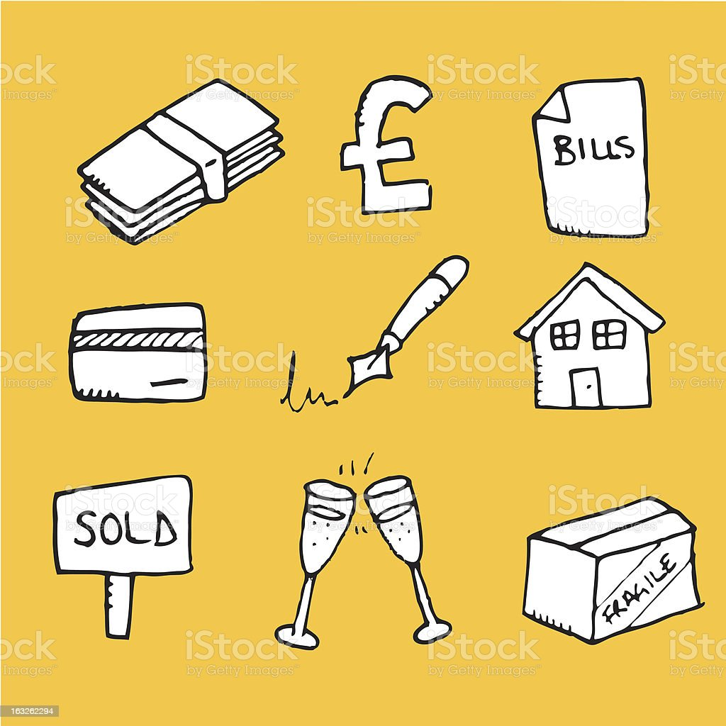Buying a home icons royalty-free stock vector art