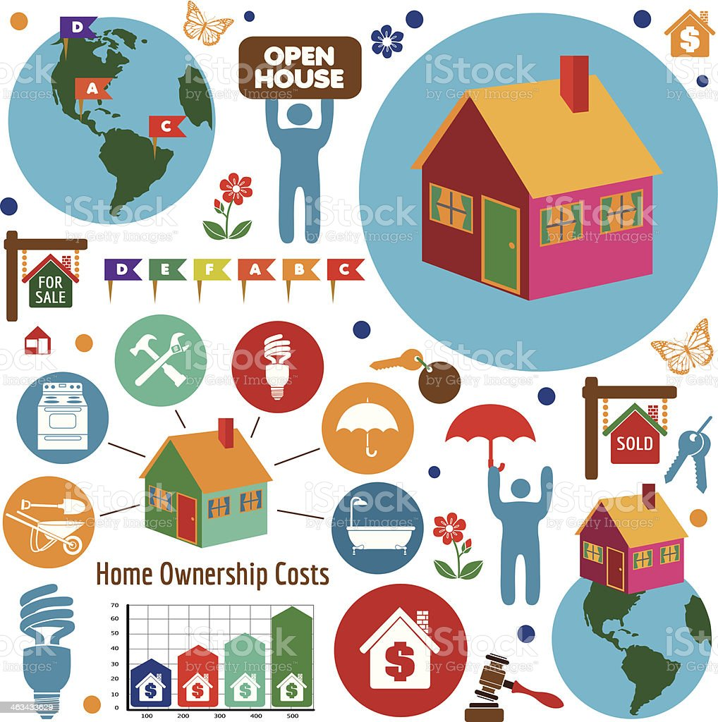 buying a new home design elements vector art illustration