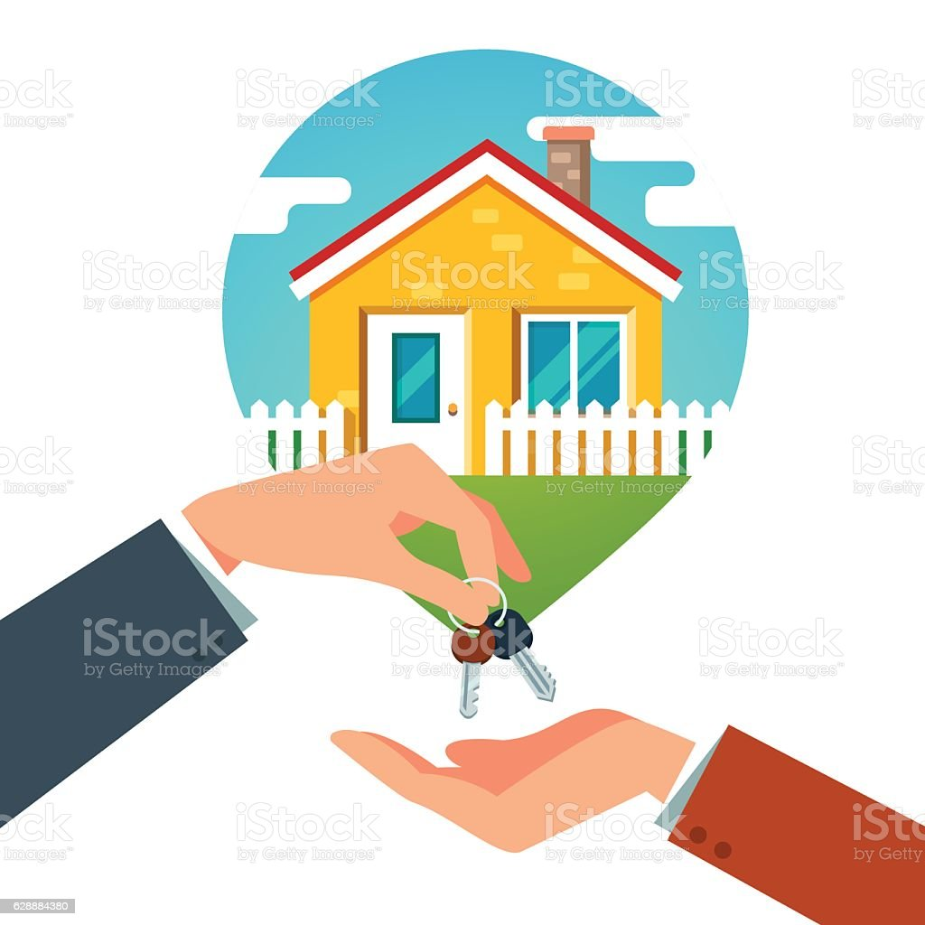 Buying a new house vector art illustration