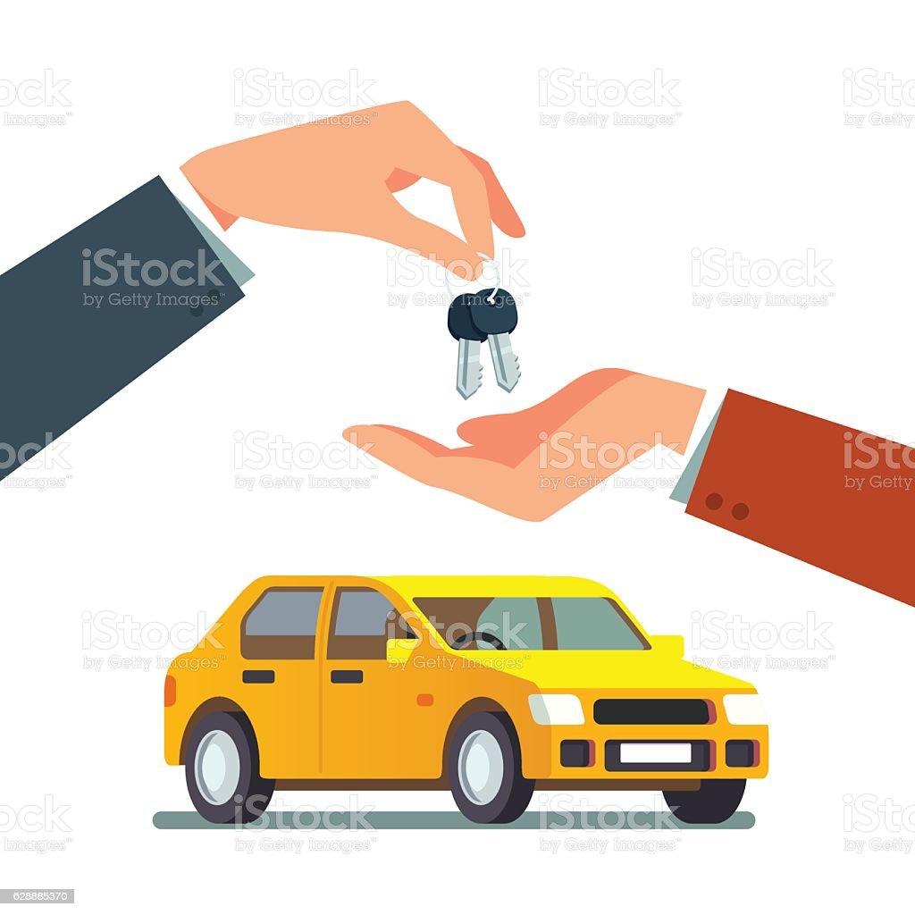 Buying a new or used family sedan car vector art illustration