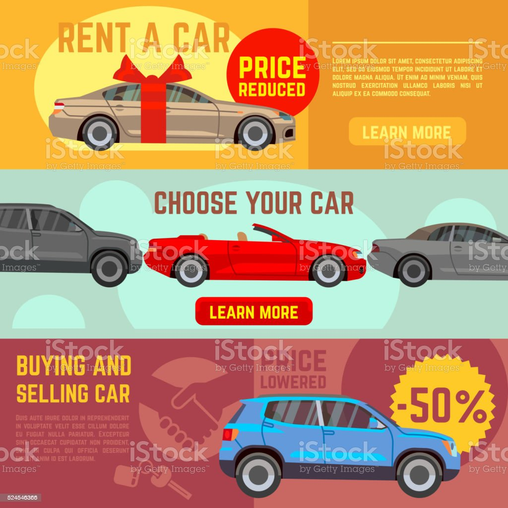 Buying and selling car vector banners set. Car sale, auto sale,...