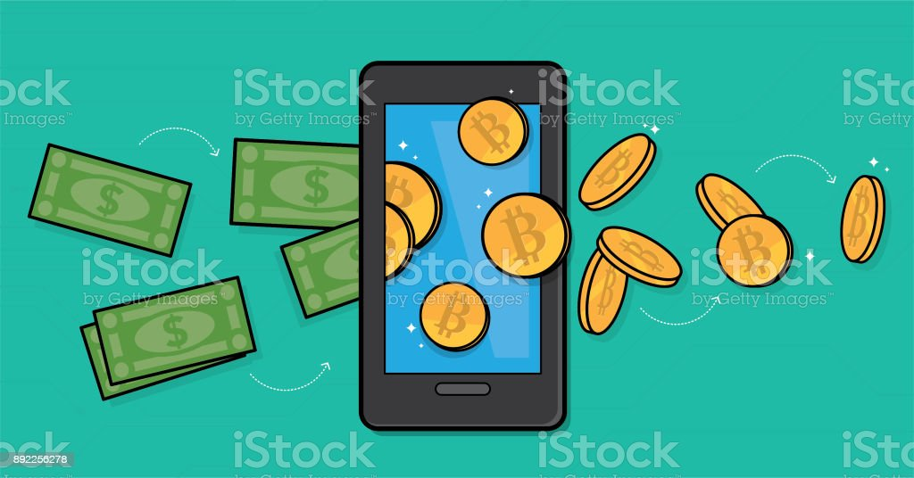 Buying bitcoin vector art illustration