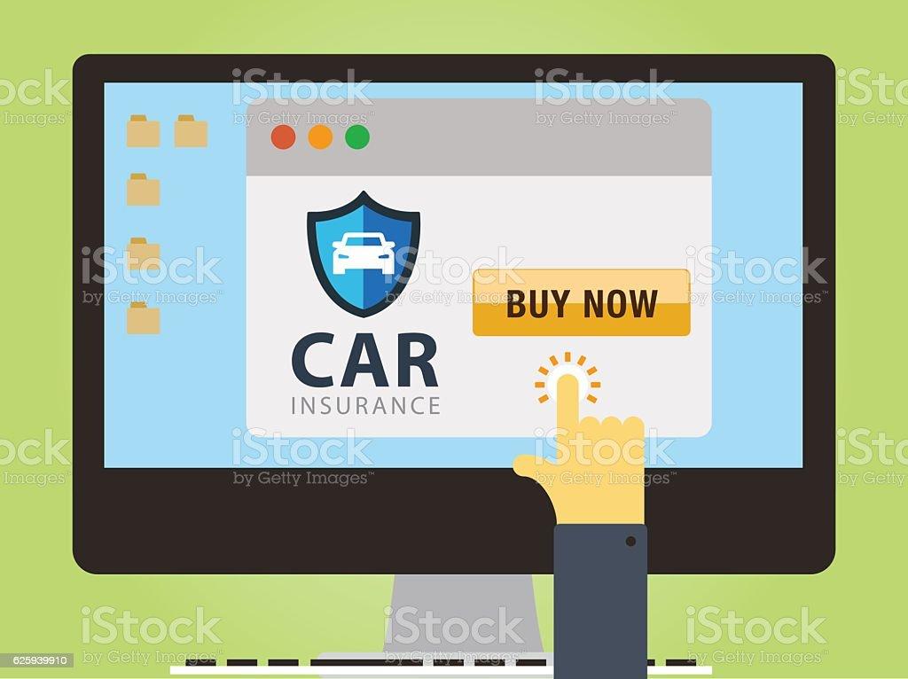 Buying Car Insurance vector art illustration