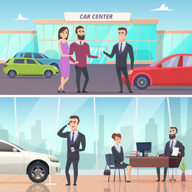 Buying car. Sell and rent auto in car exhibition advertising banners concept vector characters Buying car. Sell and rent auto in car exhibition advertising banners concept vector characters. Illustration of auto buy, new automobile car salesperson stock illustrations