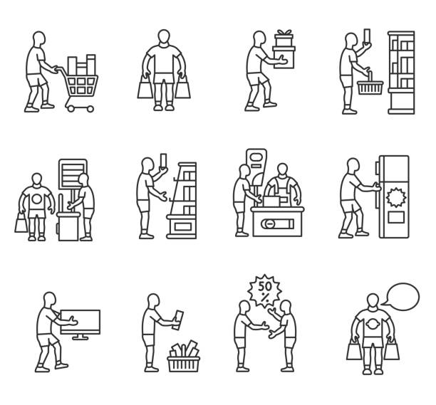 Buying goods icons set. Editable stroke Buying goods icons set. Buyer, thin line design. The consumer in the supermarket, linear symbols collection. Man selects and buys the goods, isolated vector illustration. grocery aisle stock illustrations