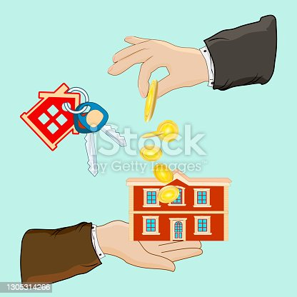 istock Buying house. Real estate, hand, house, key isolated on green background. 1305314266