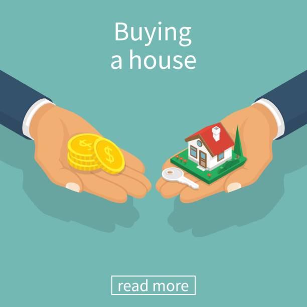 ilustraciones, imágenes clip art, dibujos animados e iconos de stock de vector de casa compra - hipotecas y préstamos