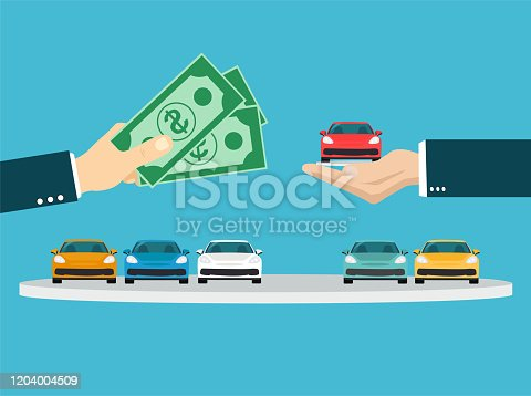 istock Buying new car concept. Vector of a businessman hand exchanging a new car for money 1204004509