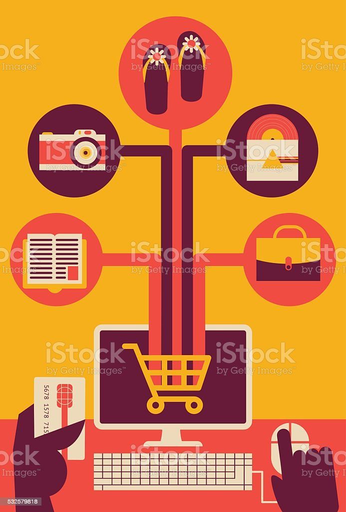 Buying Online vector art illustration