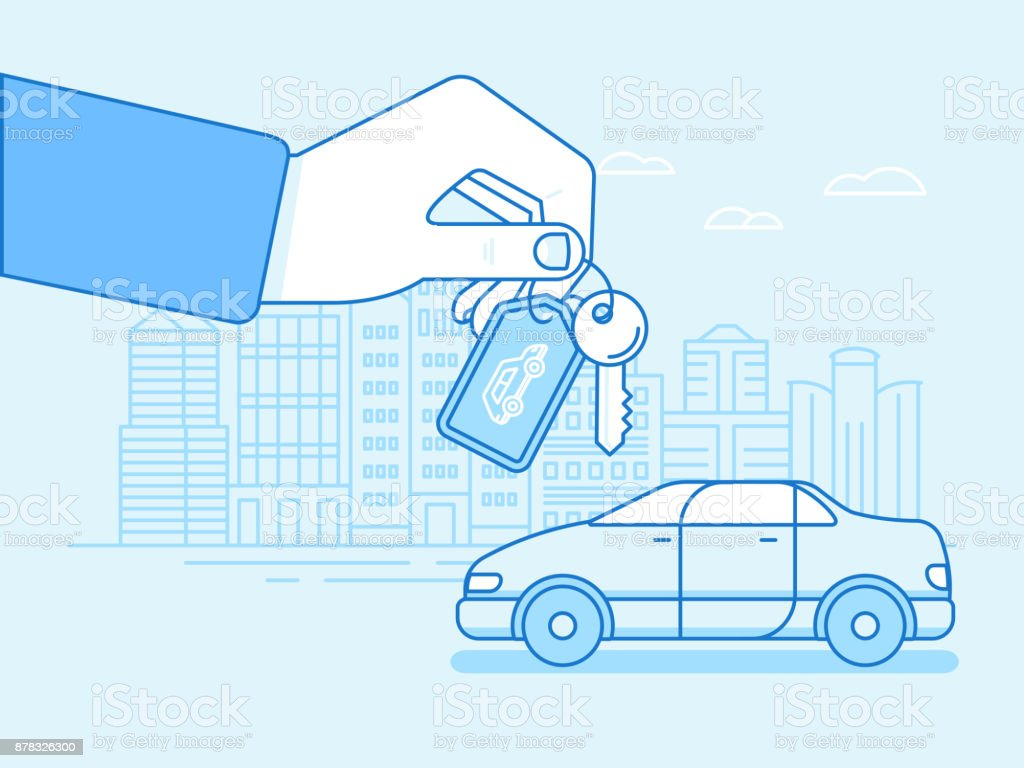 Buying or renting a car concept vector art illustration