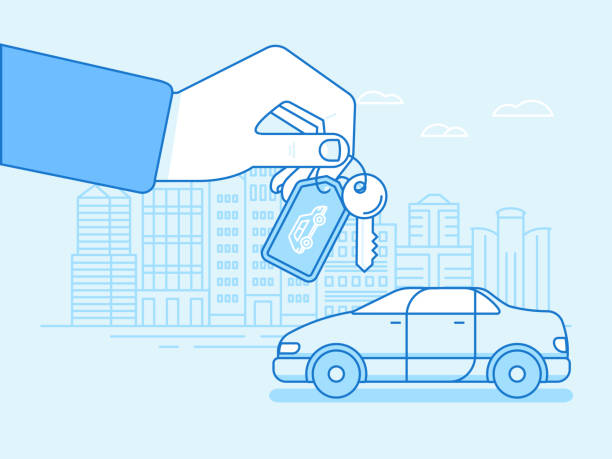 Buying or renting a car concept Vector illustration in flat linear style and blue colors - buying or renting a car concept - hand with keys and vehicle with city landscape on the background car key stock illustrations