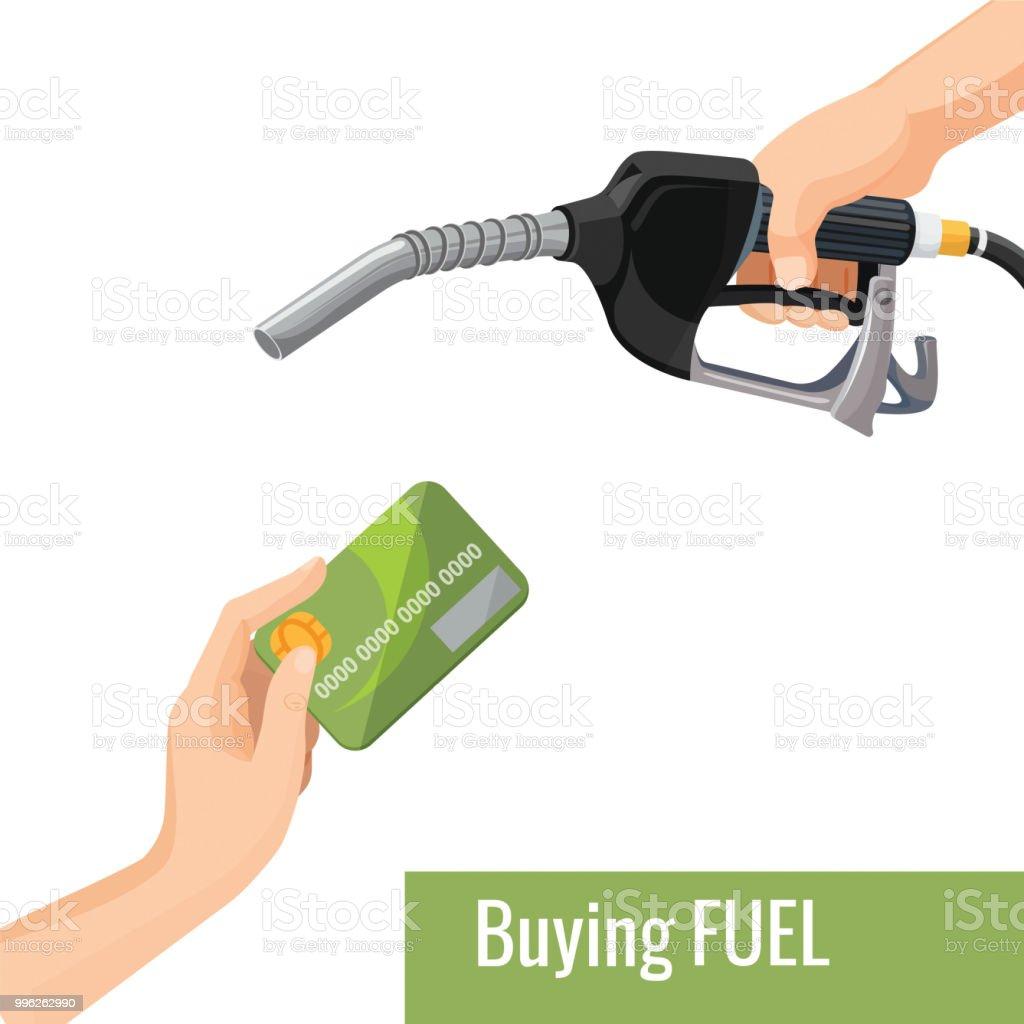 Buying petrol concept emblem, template for gasoline prices vector art illustration