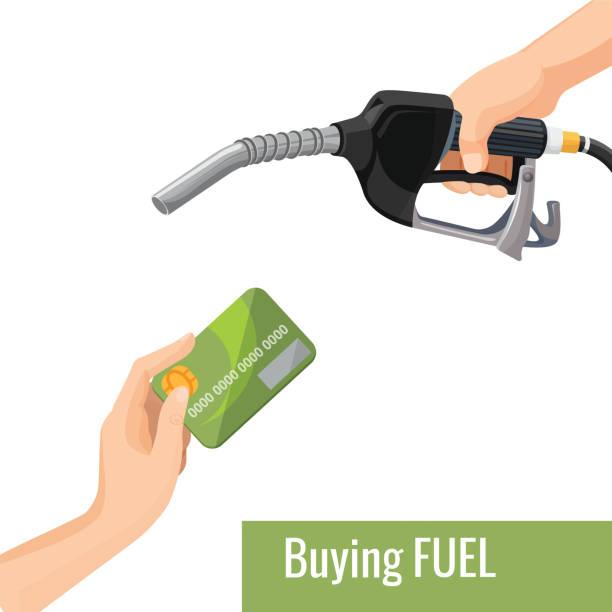 illustrazioni stock, clip art, cartoni animati e icone di tendenza di buying petrol concept emblem, template for gasoline prices - combustibile fossile