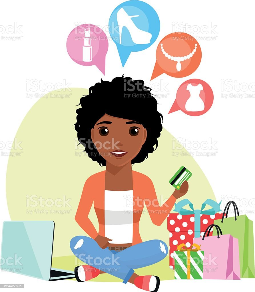 Buying products through the Internet vector art illustration
