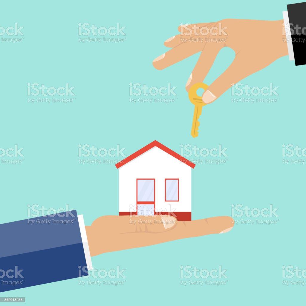 Compra de imóveis, dinheiro em troca da chave da casa. - ilustração de arte em vetor