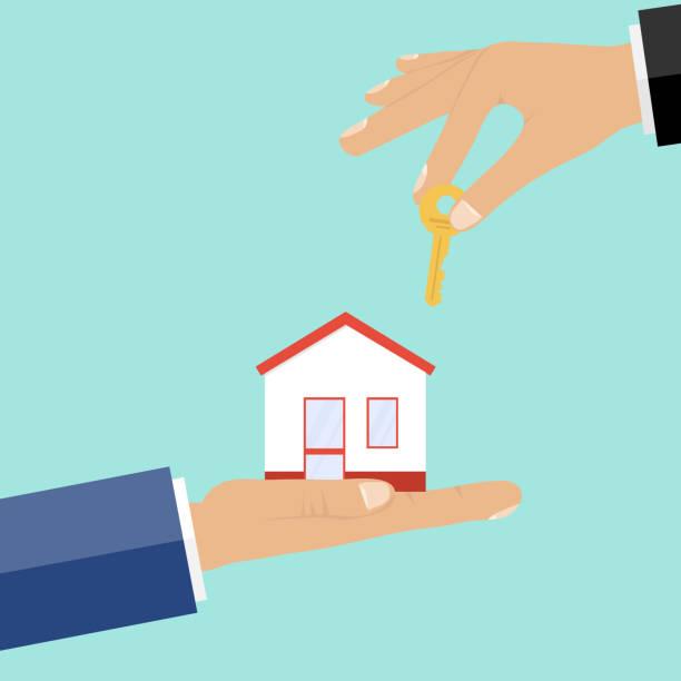 ilustraciones, imágenes clip art, dibujos animados e iconos de stock de compra de propiedad, dinero a cambio de la llave de la casa. - corredor de bolsa