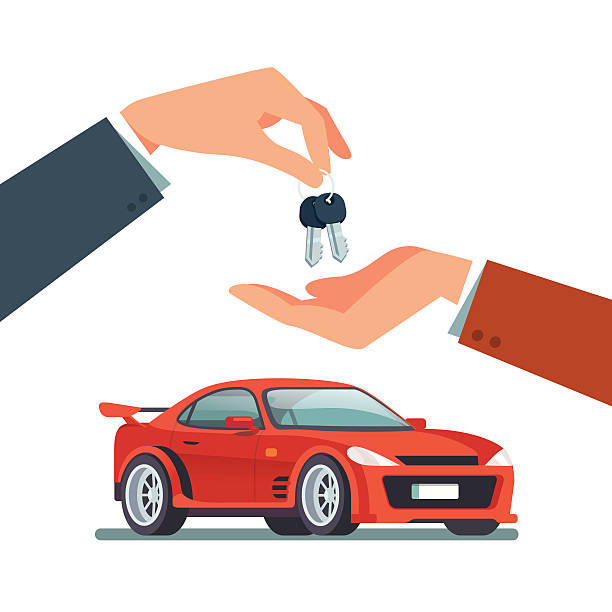 buying, renting a new or used speedy sports car - new work stock-grafiken, -clipart, -cartoons und -symbole
