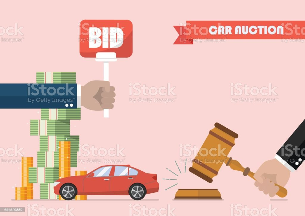 Buying selling car from auction vector art illustration