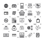 Buying & Selling Products Online Style Vector Icon Set