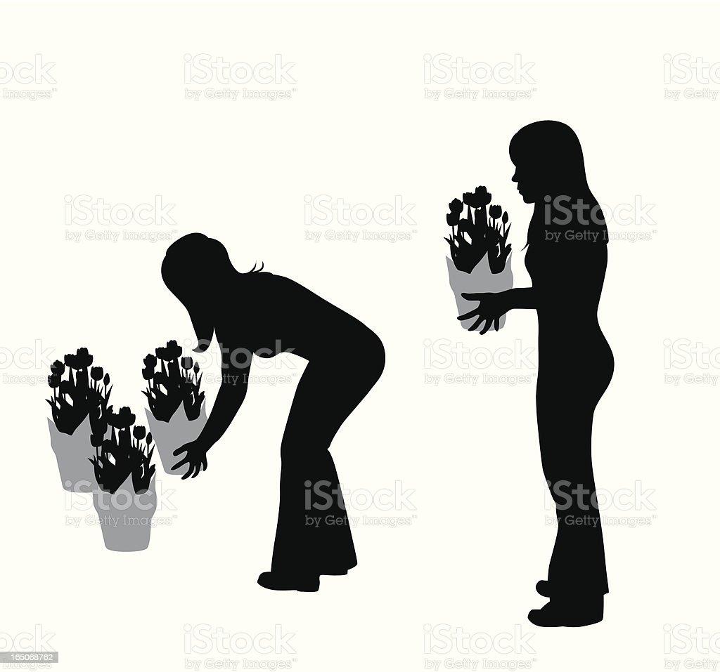 Buying Tulips Vector Silhouette vector art illustration