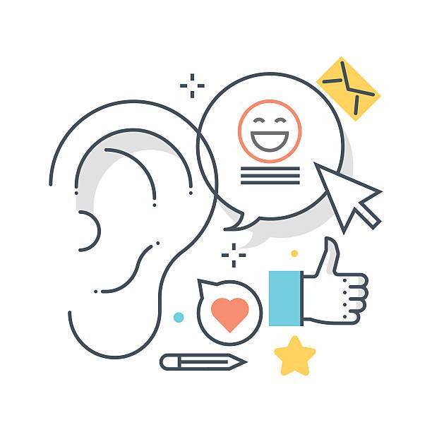 bildbanksillustrationer, clip art samt tecknat material och ikoner med buzz marketting concept - listen