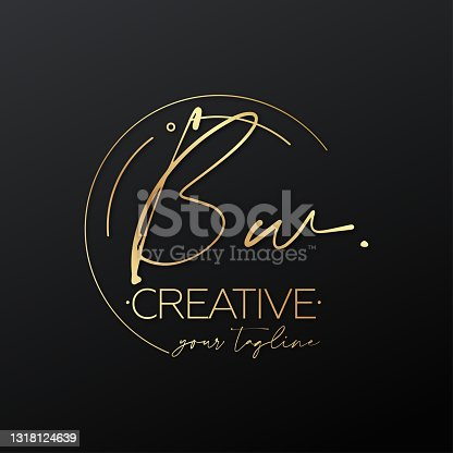 istock Bw letter calligraphy minimal emblem style vector logo. Gold color and black background. 1318124639