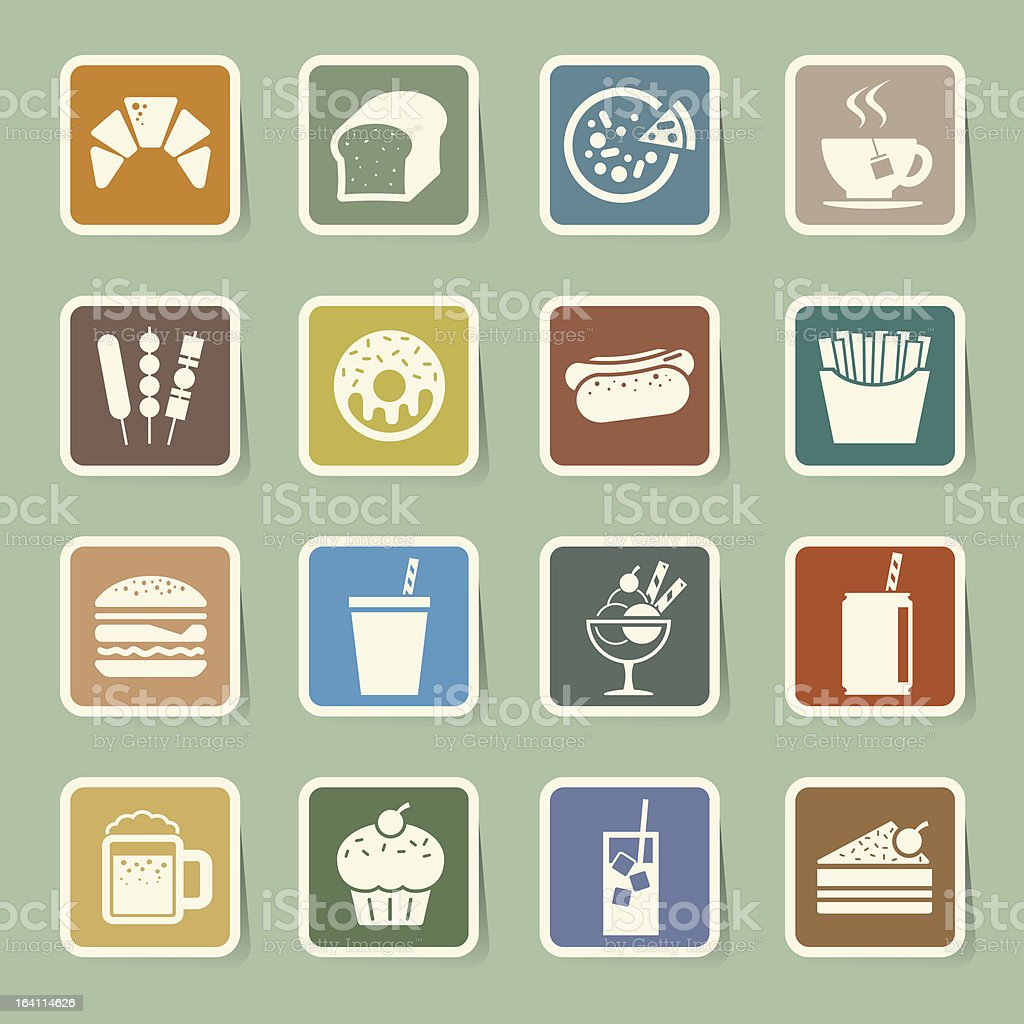 4 by 4 grid of minimalist food icons royalty-free 4 by 4 grid of minimalist food icons stock vector art & more images of bakery