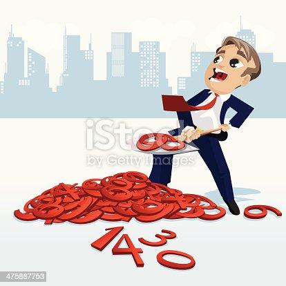 Accountant shoveling numbers at tax season