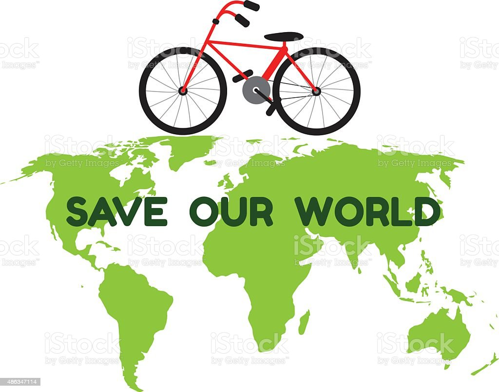 Bycicle On Green World Map And Word Save Our World Stock Vector Art