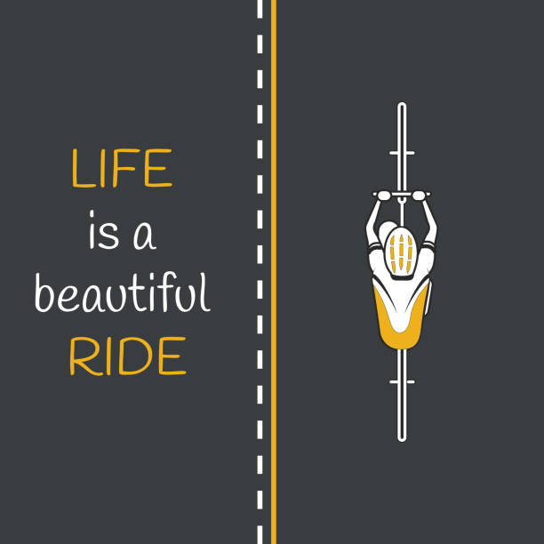 bycicle on the road. life is a beautiful ride - bike stock illustrations, clip art, cartoons, & icons