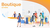 Byers choosing and buying clothes in boutique. Fashion outlet, boutique concept. Poster or landing template. Vector illustration for topics like business, shopping, sale