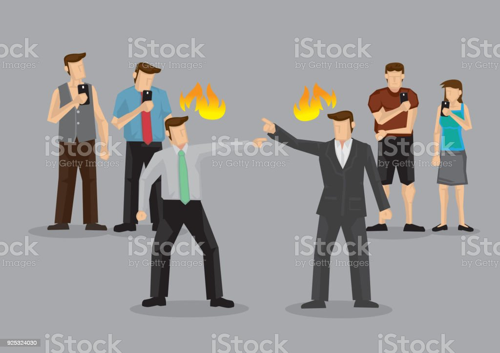 Bystanders Taking Photos with Handphones of Heated Argument in Public Cartoon Vector Illustration vector art illustration