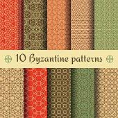 Byzantine seamless patterns set. Vector illustration.
