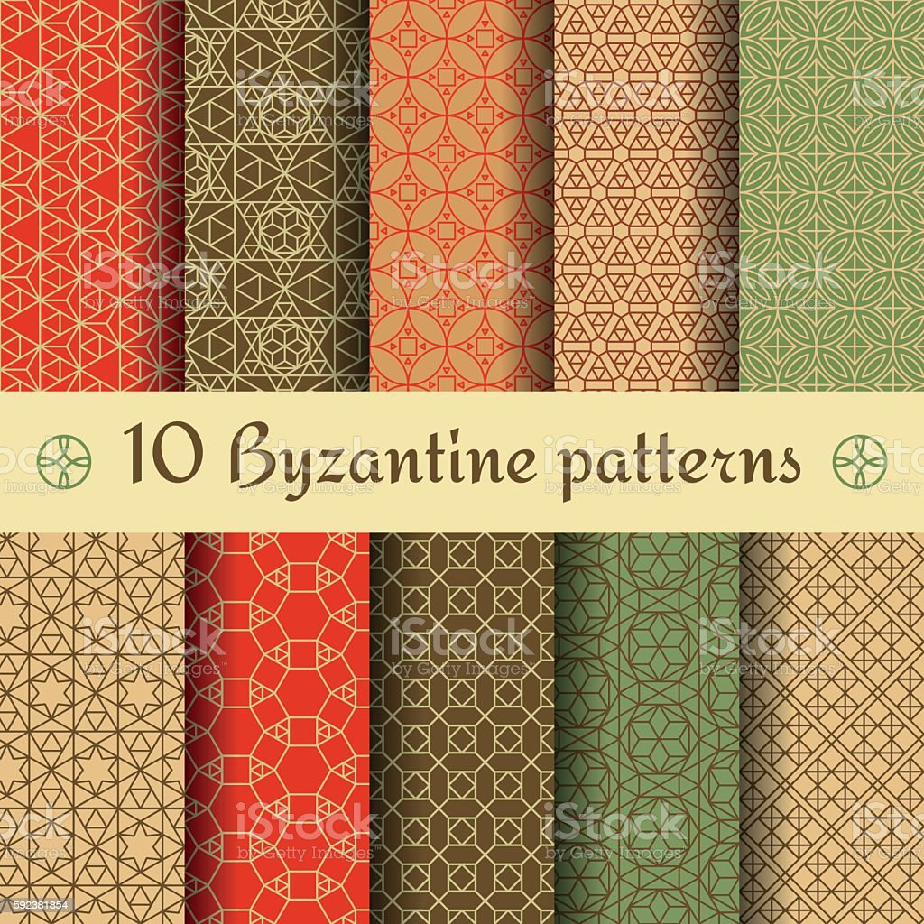 Byzantine seamless patterns set. Vector illustration. vector art illustration