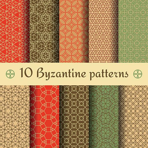 stockillustraties, clipart, cartoons en iconen met byzantine seamless patterns set. vector illustration. - turkse cultuur