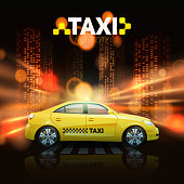 Taxi car with city skyscrapers in spotlights on background vector illustration