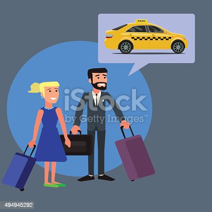A man and a woman into a cab.Vector illustration.