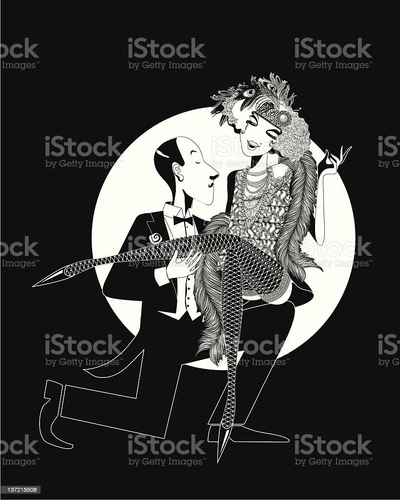 Cabaret dancer sits on the knee of a man royalty-free stock vector art