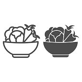 Cabbage and carrots in a plate line and solid icon. Healthy vegetables in bowl outline style pictogram on white background. Fresh greens for mobile concept and web design. Vector graphics