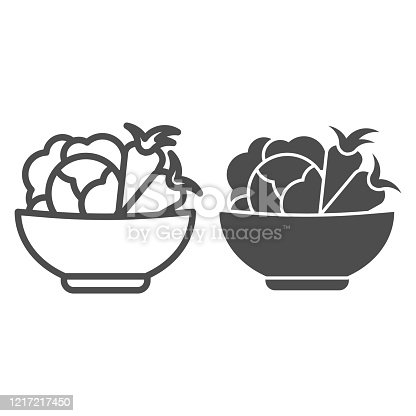 istock Cabbage and carrots in a plate line and solid icon. Healthy vegetables in bowl outline style pictogram on white background. Fresh greens for mobile concept and web design. Vector graphics. 1217217450