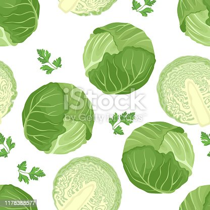 istock Cabbage seamless pattern on white background. Green cabbage whole and half. Vector illustration of fresh vegetables in cartoon simple flat style. 1178388577