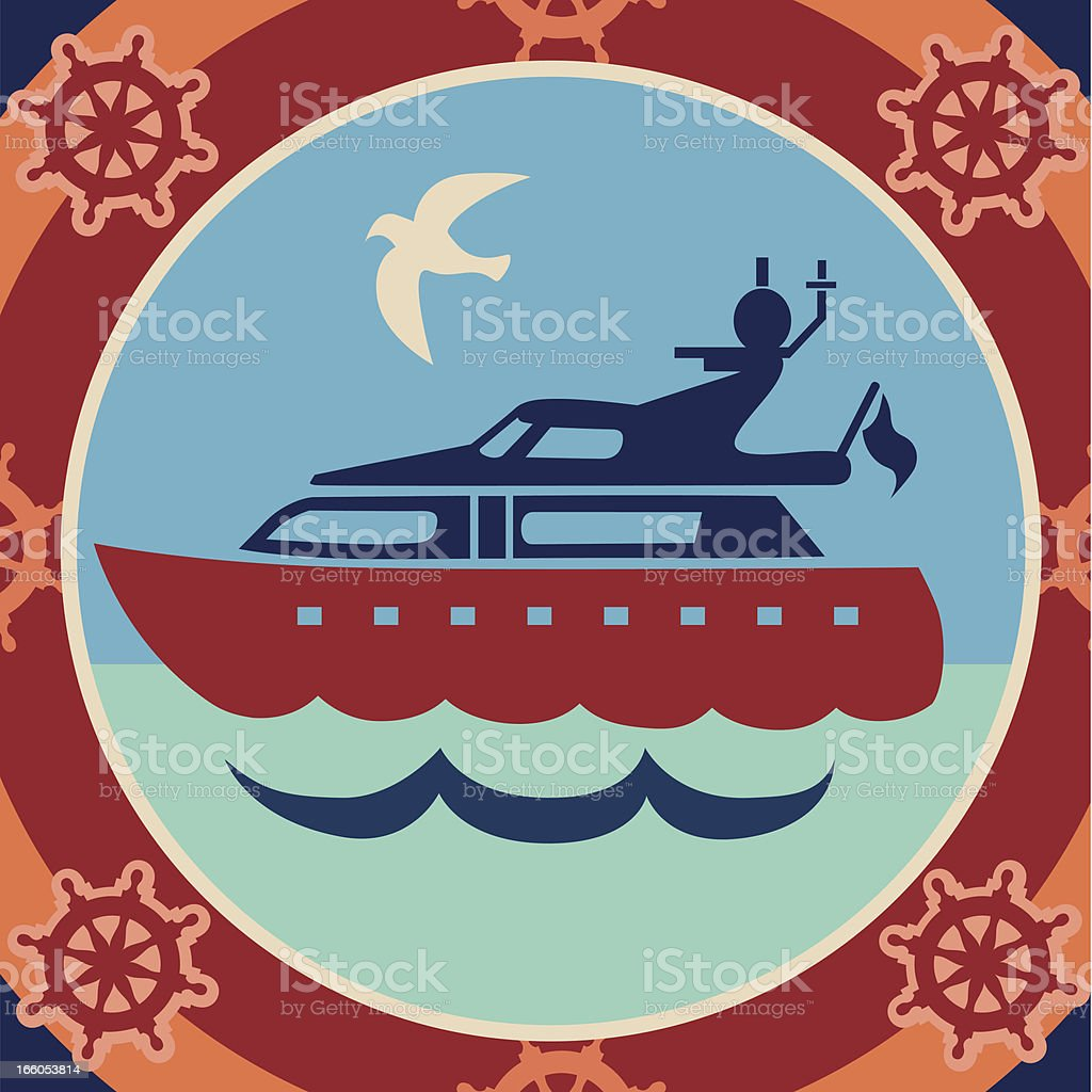 cabin cruiser royalty-free stock vector art
