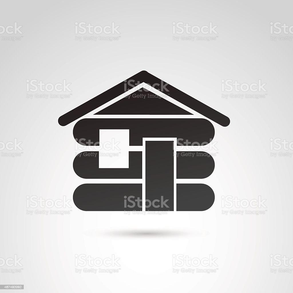 Cabin house icon. vector art illustration